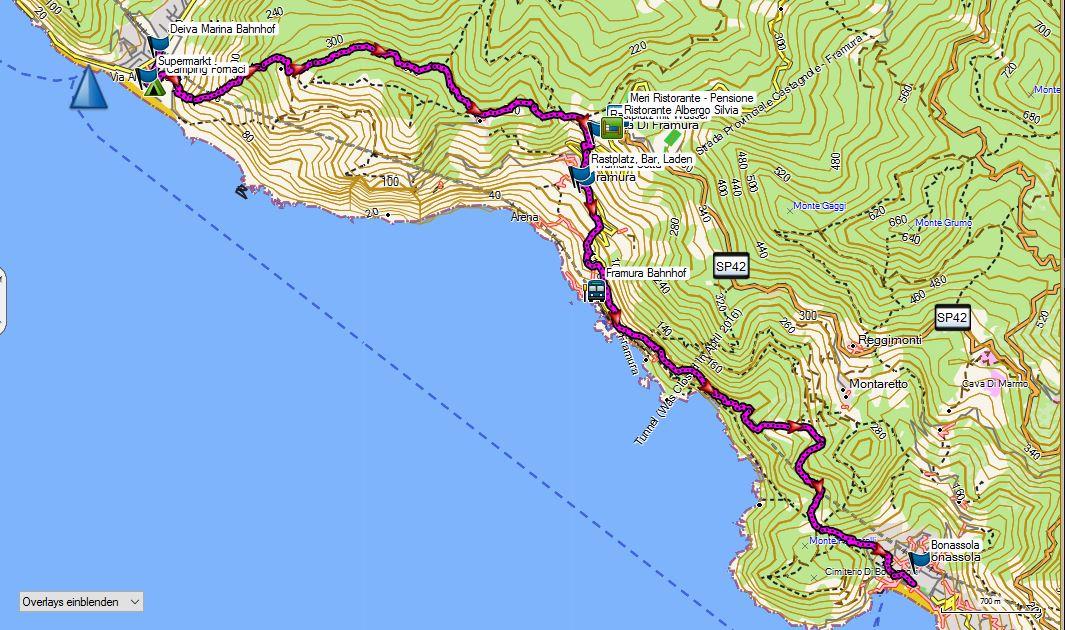 Höhenmeter Karte.Ligurien Trekking Wandern Radfahren