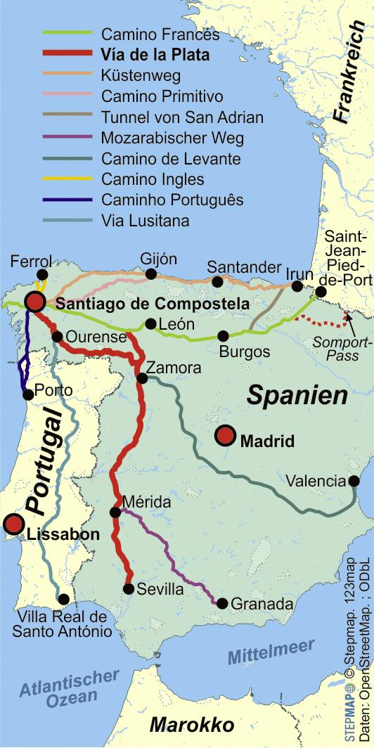 Jakobsweg Frankreich Spanien Karte.Der Jakobsweg Pilgern In Spanien