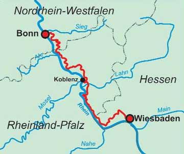 Mittelrheintal Karte.Rheinsteig Wandern Trekking Mountainbike